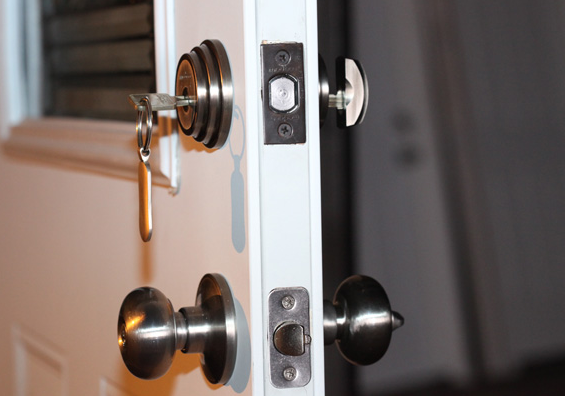 How to secure the front door in your rental house - Installing a lock on a bedroom door ...